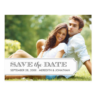 Gray and White Tab Modern Photo Save the Date Postcard