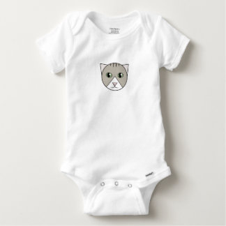 Gray-and-White Tabby Kitten Bodysuit