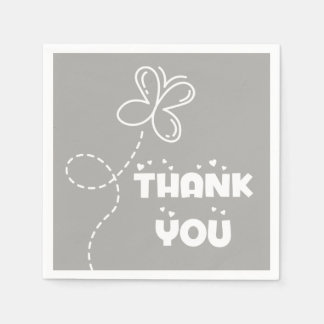 Gray And White Thank You Hearts & Butterfly Paper Napkin