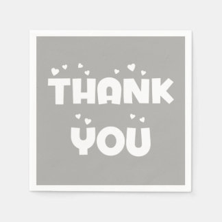 Gray And White Thank You Hearts - Wedding Party Disposable Napkin