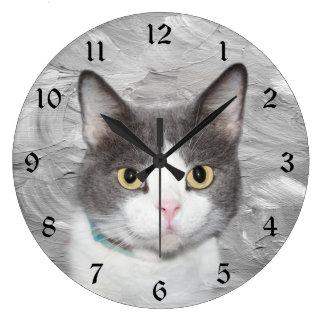 Gray and white tuxedo kitty large clock