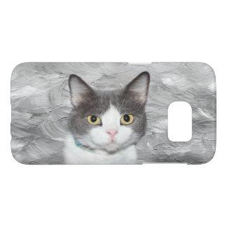 Gray and white tuxedo kitty samsung galaxy s7 case
