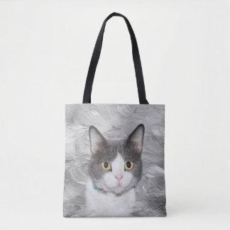 Gray and white tuxedo kitty tote bag