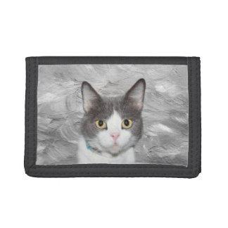 Gray and white tuxedo kitty tri-fold wallets
