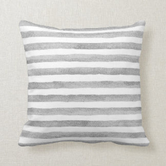 Gray and White Watercolor Stripe Nautical Pillow
