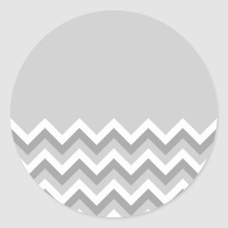 Gray and White Zig Zag Pattern. Part Plain Gray. Classic Round Sticker