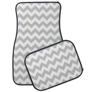 Gray and White Zigzag Chevron Pattern Auto Mat