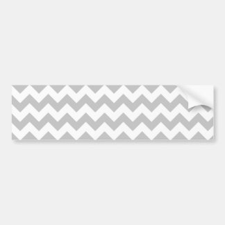 Gray and White Zigzag Chevron Pattern Bumper Sticker