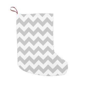 Gray and White Zigzag Chevron Pattern Small Christmas Stocking