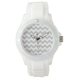 Gray and White Zigzag Chevron Pattern Wrist Watch