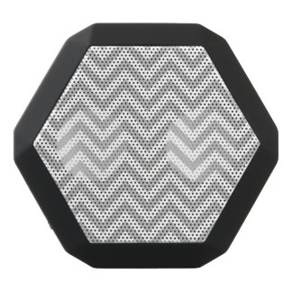 Gray and White Zigzag Stripes Chevron Pattern Black Bluetooth Speaker