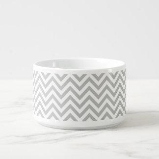 Gray and White Zigzag Stripes Chevron Pattern Bowl