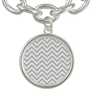 Gray and White Zigzag Stripes Chevron Pattern Bracelets