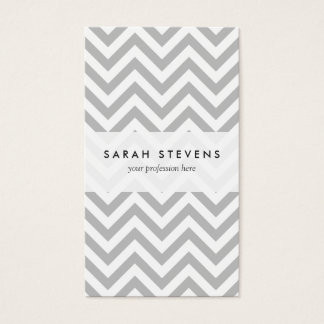 Gray and White Zigzag Stripes Chevron Pattern Business Card