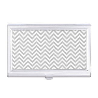 Gray and White Zigzag Stripes Chevron Pattern Business Card Holder