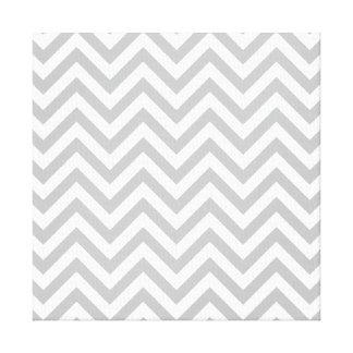 Gray and White Zigzag Stripes Chevron Pattern Canvas Print