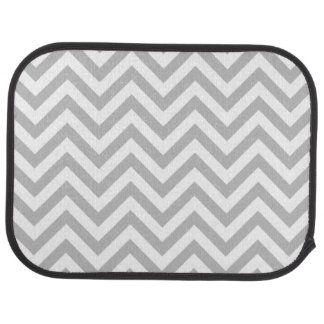 Gray and White Zigzag Stripes Chevron Pattern Car Floor Carpet