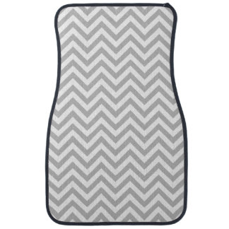 Gray and White Zigzag Stripes Chevron Pattern Car Mat
