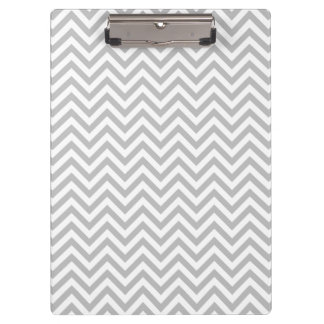 Gray and White Zigzag Stripes Chevron Pattern Clipboard