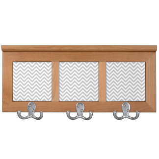 Gray and White Zigzag Stripes Chevron Pattern Coat Racks