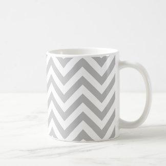 Gray and White Zigzag Stripes Chevron Pattern Coffee Mug
