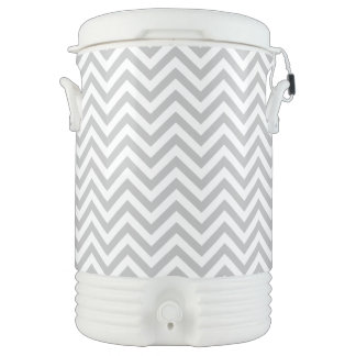 Gray and White Zigzag Stripes Chevron Pattern Cooler