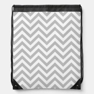 Gray and White Zigzag Stripes Chevron Pattern Drawstring Bag