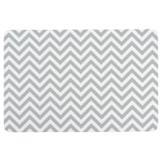 Gray and White Zigzag Stripes Chevron Pattern Floor Mat