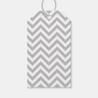 Gray and White Zigzag Stripes Chevron Pattern Gift Tags