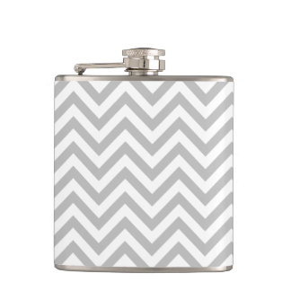 Gray and White Zigzag Stripes Chevron Pattern Hip Flask