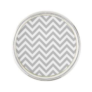 Gray and White Zigzag Stripes Chevron Pattern Lapel Pin