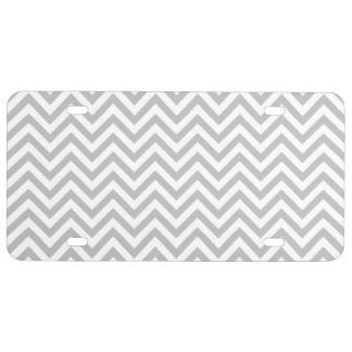 Gray and White Zigzag Stripes Chevron Pattern License Plate