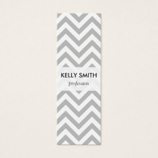 Gray and White Zigzag Stripes Chevron Pattern Mini Business Card