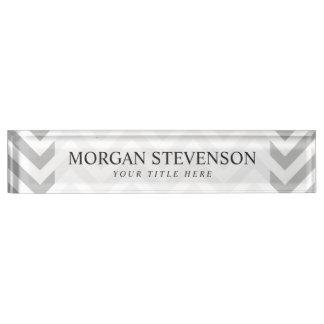 Gray and White Zigzag Stripes Chevron Pattern Nameplate