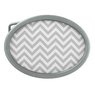 Gray and White Zigzag Stripes Chevron Pattern Oval Belt Buckle