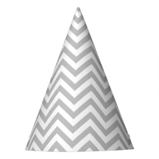 Gray and White Zigzag Stripes Chevron Pattern Party Hat