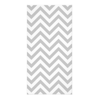 Gray and White Zigzag Stripes Chevron Pattern Personalized Photo Card