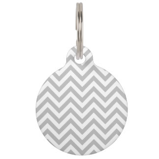 Gray and White Zigzag Stripes Chevron Pattern Pet Tag
