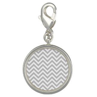 Gray and White Zigzag Stripes Chevron Pattern Photo Charms