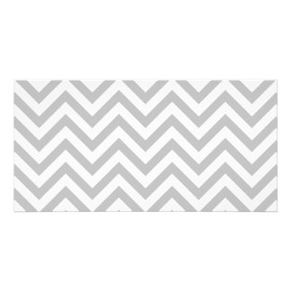 Gray and White Zigzag Stripes Chevron Pattern Photo Greeting Card