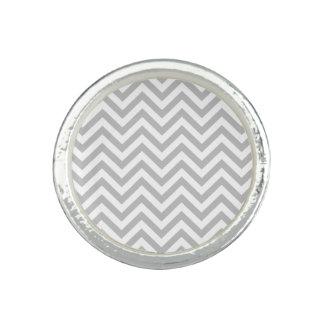 Gray and White Zigzag Stripes Chevron Pattern Photo Ring