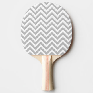 Gray and White Zigzag Stripes Chevron Pattern Ping Pong Paddle