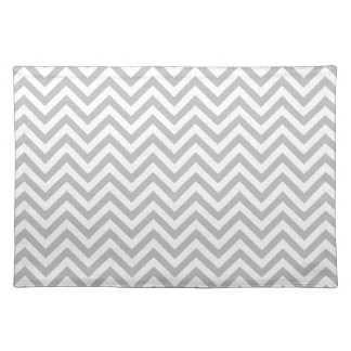 Gray and White Zigzag Stripes Chevron Pattern Placemat