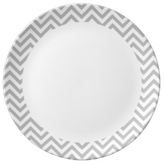 Gray and White Zigzag Stripes Chevron Pattern Plate