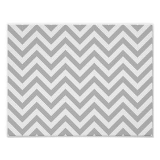 Gray and White Zigzag Stripes Chevron Pattern Poster