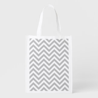 Gray and White Zigzag Stripes Chevron Pattern Reusable Grocery Bags