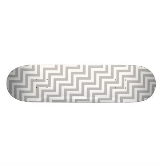 Gray and White Zigzag Stripes Chevron Pattern Skate Boards