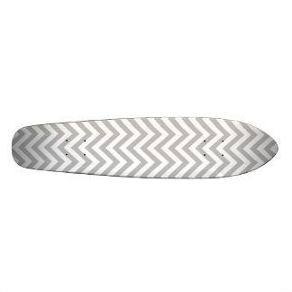 Gray and White Zigzag Stripes Chevron Pattern Skateboard Decks