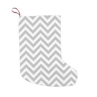 Gray and White Zigzag Stripes Chevron Pattern Small Christmas Stocking