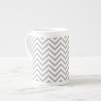 Gray and White Zigzag Stripes Chevron Pattern Tea Cup